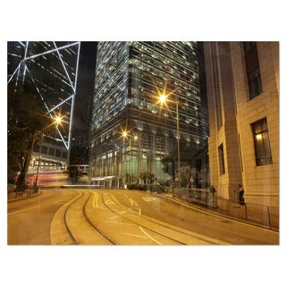 Busy Traffic and City at Night - Cityscape Glossy Metal Wall Art