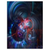Light Blue Fractal Flower in Dark - Floral Large Abstract Art Glossy Metal Wall Art