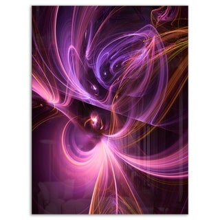 Purple Fractal Light Art in Dark - Abstract Large Abstract Art Glossy Metal Wall Art