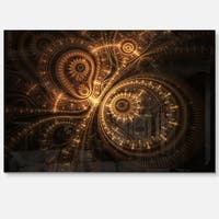 Green Fractal Flower in Dark - Floral Digital Art Glossy Metal Wall Art