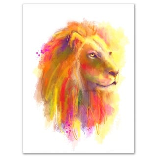 Lion with Colorful Mane - Animal Painting Glossy Metal Wall Art