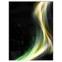 Green Yellow Light Art - Abstract Digital Art Glossy Metal Wall Art