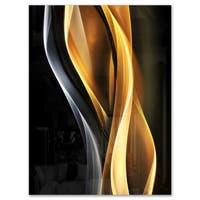 Brown White Light Art - Abstract Digital Art Glossy Metal Wall Art