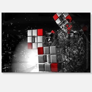 Fractal 3D Red White Cubes - Abstract Art Glossy Metal Wall Art