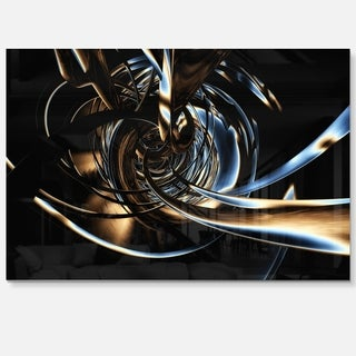 Fractal 3D Tangled Stripes - Abstract Art Glossy Metal Wall Art