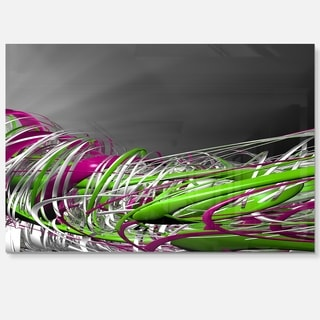 Fractal 3D Green Purple Stripes - Abstract Art Glossy Metal Wall Art