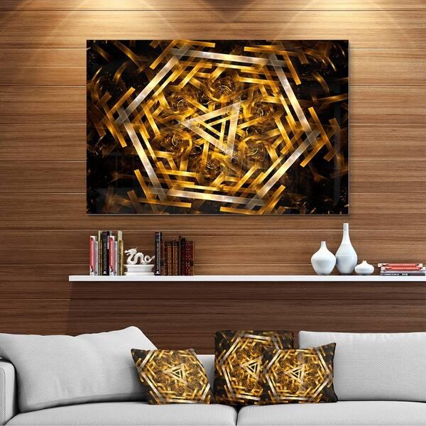 Fractal 3d Yellowish Hexagon Abstract Art Glossy Metal Wall Art Overstock 12750270