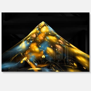 Fractal Golden Blue Structure - Abstract Art Glossy Metal Wall Art
