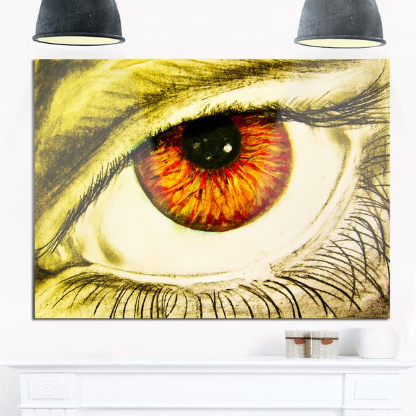 Eye With Orange Pupil Abstract Painting Glossy Metal Wall Art