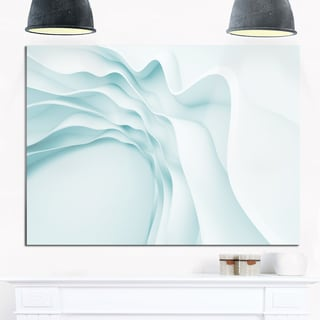 Fractal Large Blue 3D Waves - Abstract Art Glossy Metal Wall Art
