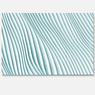 Fractal Small Blue 3D Waves - Abstract Art Glossy Metal Wall Art