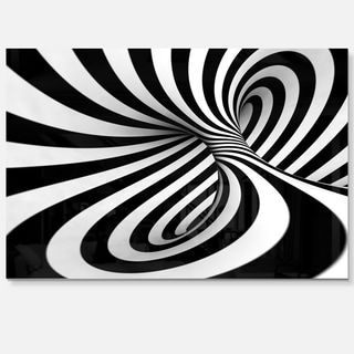 Spiral Black n' White - Abstract Art Glossy Metal Wall Art