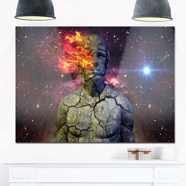 Broken Human Body With Fire Abstract Art Glossy Metal Wall Art