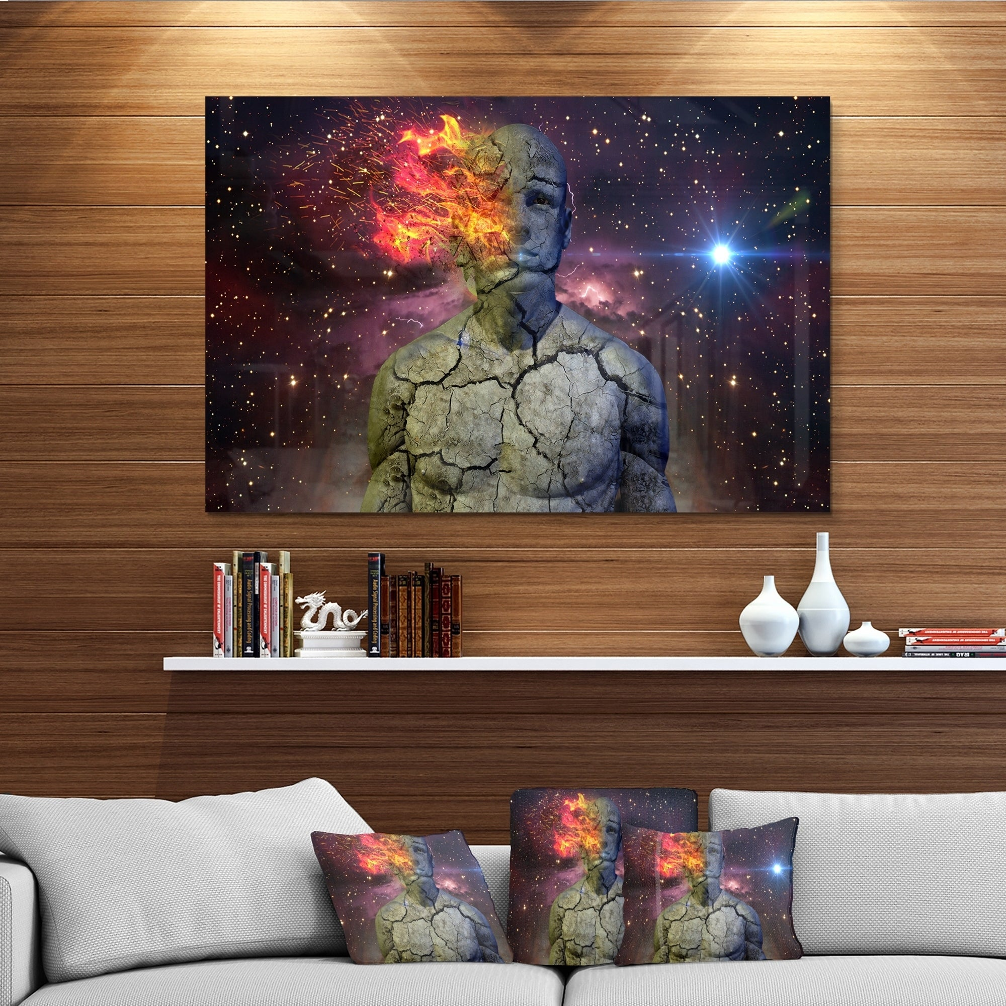 Broken Human Body With Fire Abstract Art Glossy Metal Wall Art Overstock 12750320