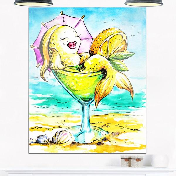 Designart - Gold Fish Enjoying Holidays on Beach - Cartoon Animal Glossy Metal Wall Art