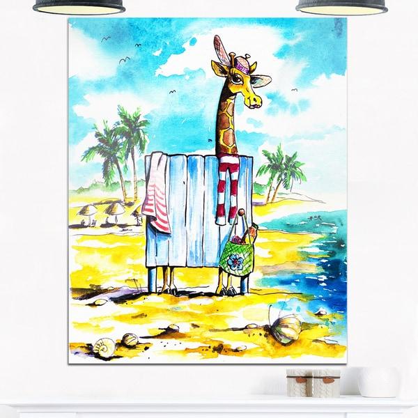 shop designart giraffe in dressing room on beach cartoon animal