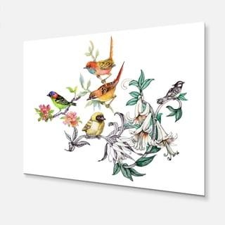 Designart - Tropical Flowers and Birds - Birds Glossy Metal Wall Art