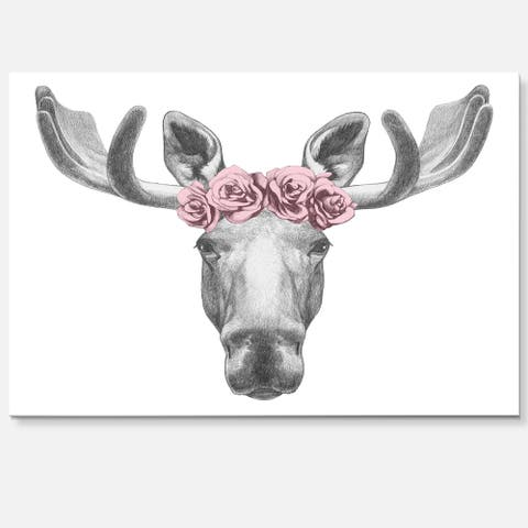 Silver Orchid Moose with Floral Head Wreath - Moose Glossy Metal Wall Art