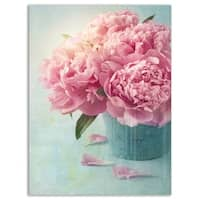 Pink Peony Flowers in Vase - Large Floral Glossy Metal Wall Art
