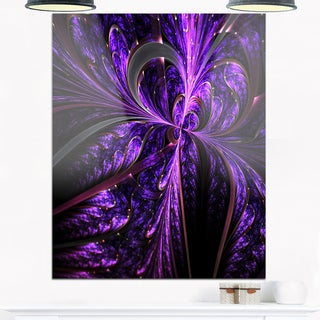 Embossed Dark Purple Floral Shapes - Large Floral Glossy Metal Wall Art