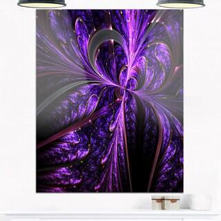 Embossed Dark Purple Floral Shapes - Large Floral Glossy Metal Wall Art