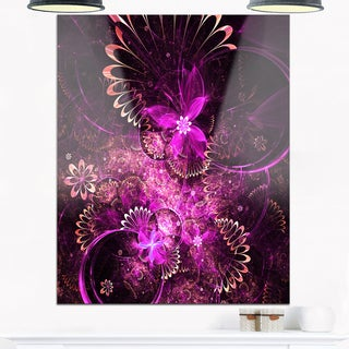 Glossy Bright Purple Fractal Flower - Large Floral Glossy Metal Wall Art