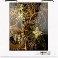 Green Gold Digital Art Fractal Flower - Large Floral Glossy Metal Wall Art
