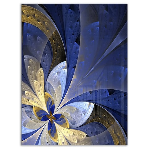 Blue and Yellow Large Fractal Pattern - Modern Floral Glossy Metal Wall Art