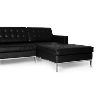 Kardiel Florence Knoll 100-percent Full Aniline Leather Right-facing Sectional Sofa