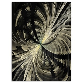 Black and White Fractal Flower Design - Modern Floral Glossy Metal Wall Art