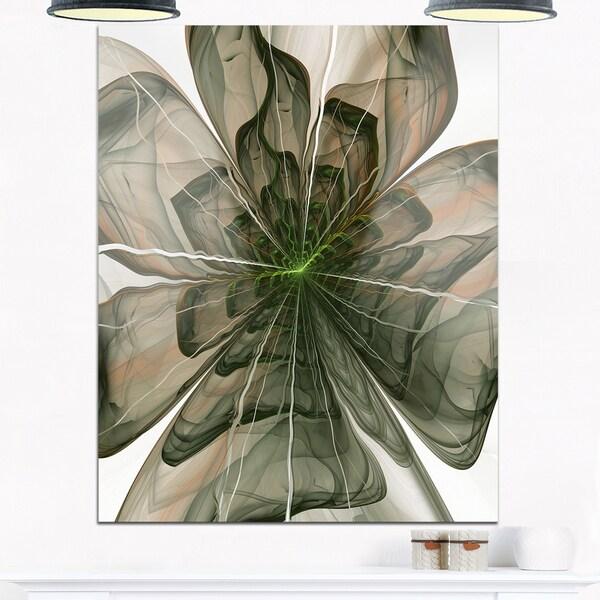 Symmetrical Green Fractal Flower - Modern Floral Glossy Metal Wall Art