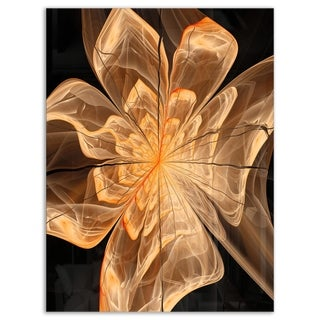 Light Orange Symmetrical Fractal Flower - Modern Floral Glossy Metal Wall Art