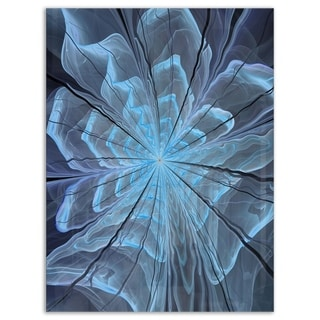 Soft Blue Fractal Flower with Large Petals - Modern Floral Glossy Metal Wall Art