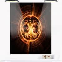 Rounded Orange Glowing Fractal Flower - Large Abstract Glossy Metal Wall Art