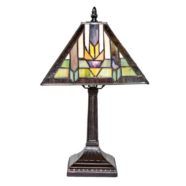 """15.5""""H Stained Glass Mission Style Santa Fe Table Lamp"""