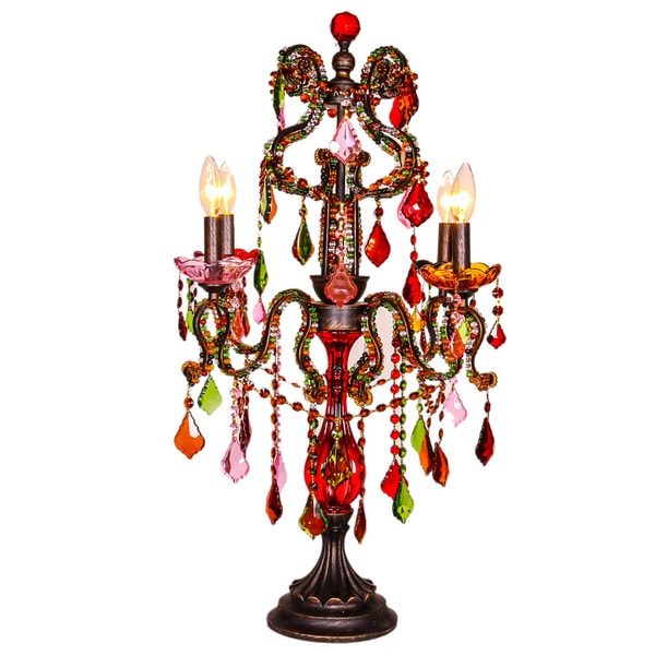 River of Goods Crystal Carnival Multicolor Crystal/Resin 31.75-inch Candelabrum Table Lamp
