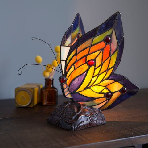 "Multicolored Glass/Resin/Brass Butterfly Wings Accent Lamp - 5.5""L x 7.5""W x 9.5""H"