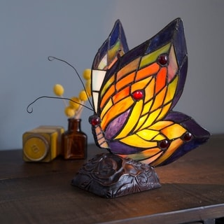 """Multicolored Glass/Resin/Brass Butterfly Wings Accent Lamp - 5.5""""L x 7.5""""W x 9.5""""H"""