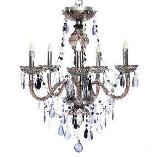River of Goods Smoky Grey Acrylic and Metal 25.5-inch High 5-arm Cordless Chandelier with Remote Control and Adapter