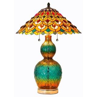 Tiffany Peacock and Flowers Stained Glass 25.5-inches High Table Lamp