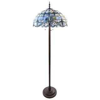 River of Goods Allistar Amber Stained Glass and Resin 3-light 64-inch High Downlight Floor Lamp