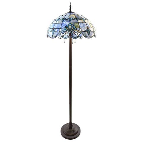 "River of Goods Allistar Amber Stained Glass and Resin 3-light 64-inch High Downlight Floor Lamp - 20""L x 20""W x 64""H"