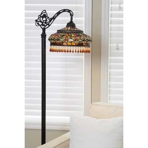 """Gracewood Hollow Lachmet Stained Glass 59-inch Parisian Side Arm Floor Lamp - 19.5""""L x 12""""W x 59""""H"""