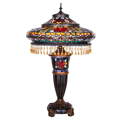 "Gracewood Hollow Lachmet Multicolored Stained Glass Table Lamp (27.5 in.) - 17""L x 17""W x 27.5""H"
