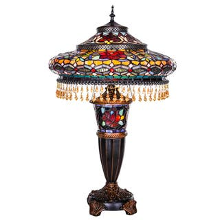 Multicolor Stained Glass and Resin 27.5-inch High Parisian Double-lit Table Lamp|https://ak1.ostkcdn.com/images/products/12750852/P19527511.jpg?impolicy=medium