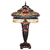 Gracewood Hollow Lachmet Multicolor Stained Glass and Resin 27.5-inch Parisian Double-lit Table Lamp