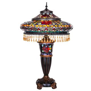 """Gracewood Hollow Lachmet Multicolor Stained Glass and Resin 27.5-inch Parisian Double-lit Table Lamp - 17""""L x 17""""W x 27.5""""H"""