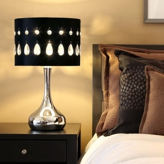 River of Goods Silver Crystal Noir 21-inch High Table Lamp with Chrome Base