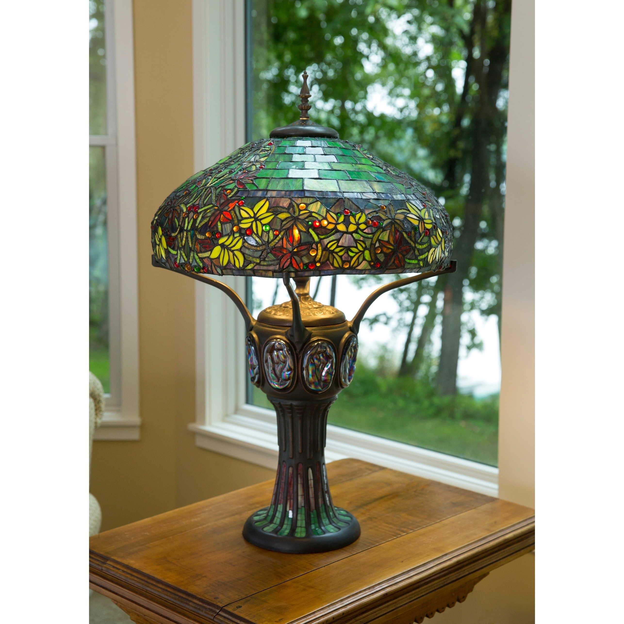 Gracewood Hollow Rezzoug Multicolored Stained Gl 34 Inch High Table Lamp With Turtleback And Mosaic