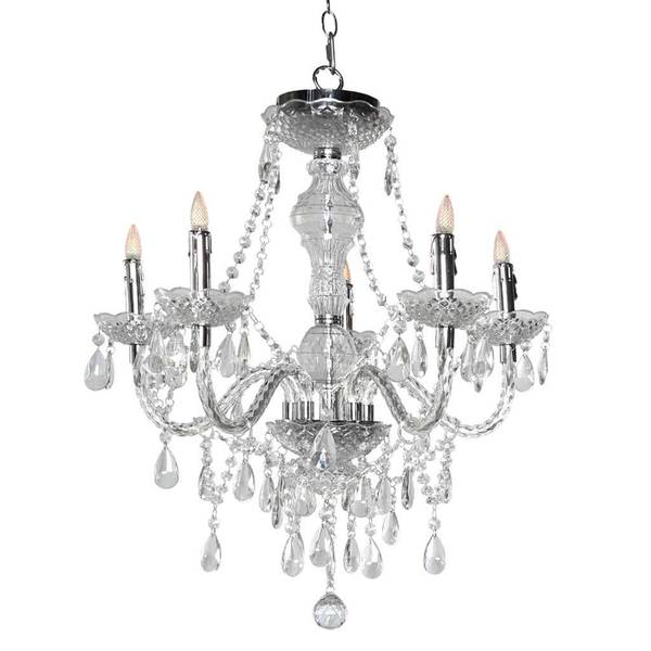 Shop H Glam Jewel 25.5-inch 5-arm Cordless Chandelier With Remote ...